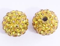 5 Shamballa beads 8mm Round Rhinestones -  Light Topaz